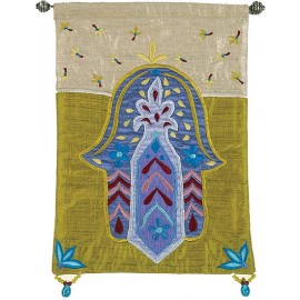 Hamsa Flowers Gold Wall Hanging