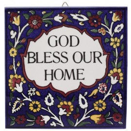 "Armenian Ceramic ""God Bless Our Home"" Wall Tile"