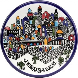 Jerusalem Wall Armenian Ceramic Hanging Plate