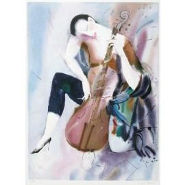 The Cellist I  26x36 / 66x91 cm  Serigraph  1995