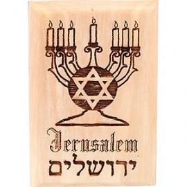 Jerusalem Menorah Olive Wood Magnet