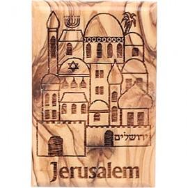 Olive Wood Holy City Magnet