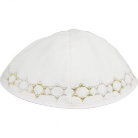 White Velvet Kippah with Gold and Silver Stars