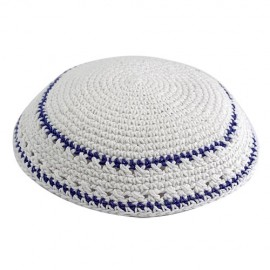 White & Blue Knitted Kippah
