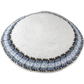 Blue on White Knitted Kippah