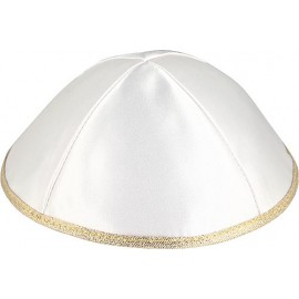 Satin Kippah in white and gold