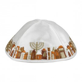 White and Gold Satin Kippah with Jerusalem Scene