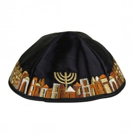Navy Blue and Gold Satin Kippah With Jerusalem Scene