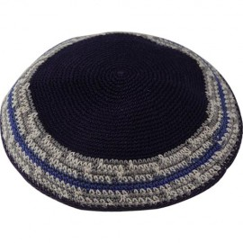 Royal Blue & White Stripes - Knitted Kippah
