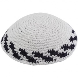 White Knitted Kippah Black Stripes