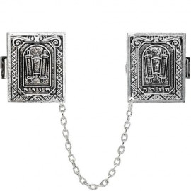 Exquisite Silver-plated Torah Scroll Tallis Clips