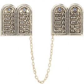 Golden Ten Commandments Tallit Clips