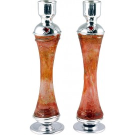 Reddish Glass & Silver Candlesticks