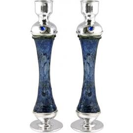 Blue Glass & Silver Candlesticks