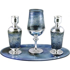 Silver and Blue Glass Kiddush Set