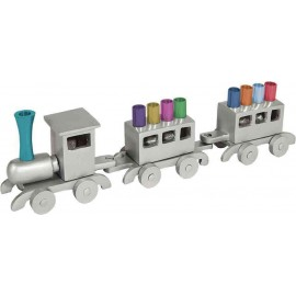 Silver Wooden Train Hanukkah Menorah by Yair Emanuel