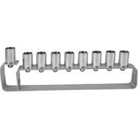 Yair Emanuel Anodized Aluminum Hanukkah Menorah with Frame Design - Silver