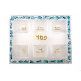 Blue Shade Glass Seder Plate by Doris