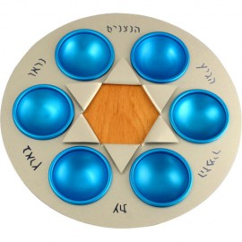 Nitsanim Seder Plate with Blue Cups