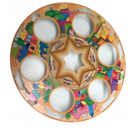 Beautiful Hand-Painted Seder Plate by Joy Art