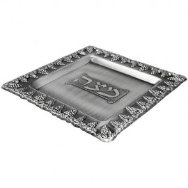Grape Design Pewter Matzah Plate