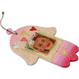 Heart Motif Hamsa with Photo Pocket
