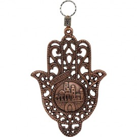 Magnificent Jerusalem Lattice Work Copper Hamsa