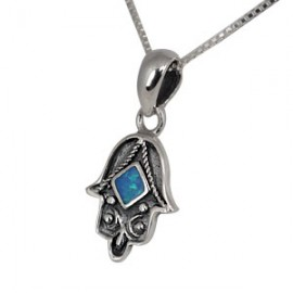 Petite Silver and Opal Hamsa-shaped Pendant