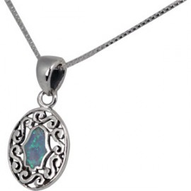 Oval Silver Pendant with Opal Hamsa