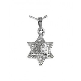Silver Magen David '10 Commandments' Pendant
