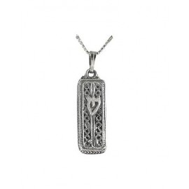 Rectangular Silver Filigree 'Shin' Pendant