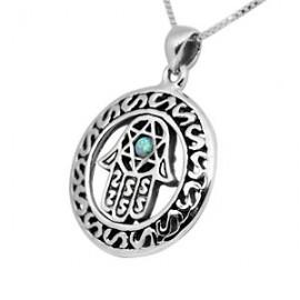 Round Filigree Silver & Opal Kabbalah Hamsa Pendant