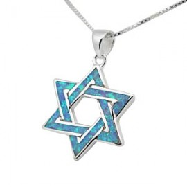 Shimmering Opal and Silver Jewish Star Pendant
