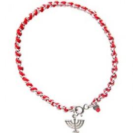 Red String Kabbalah Bracelet with Menorah