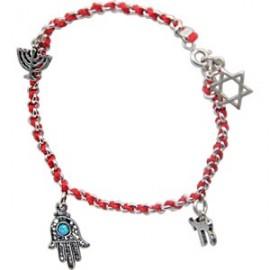 Kabbalah Red String Bracelet with 4 Jewish Symbols