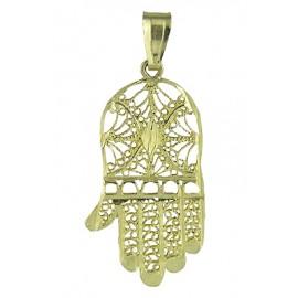 14K Gold Filigree Hamsa Hand Pendant