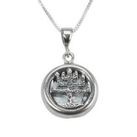 Silver Filigree Menorah Roman Glass Pendant