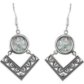Stunning Silver Filigree Roman Glass Earrings