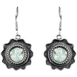 Sterling Silver Roman Glass-filled Earrings