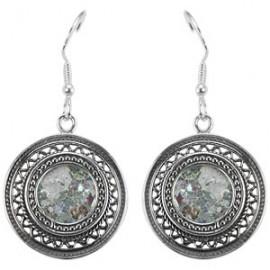 Elegant Silver Filigree Roman Glass Earrings