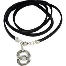 Brown Leather Double-pendant Kabbalah Bracelet