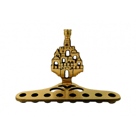 Jerusalem Old City Decorated Brass Menorah