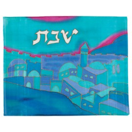 Vista Turquoise Silk Challah Cover