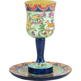 Oriental Hand Painted Wooden Kiddush Cup