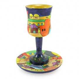 Hand Painted Wooden Kiddush Cup