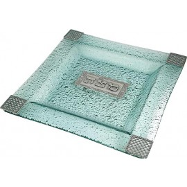 Green Tint and Pewter Matzah Plate
