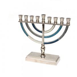 Shades of Blue Classic Desing Aluminum Hanukkah Menorah- Medium.