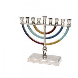 Colorful Classic Design Aluminum Hanukkah Menorah- Medium.