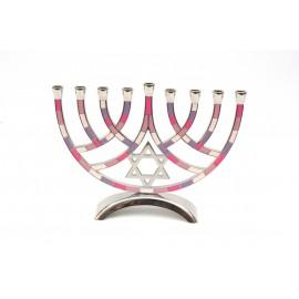 Pink-Purple Designed Aluminum Hanukkah Menora.