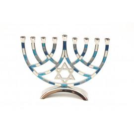 Shades of Blue Designed Aluminum Hanukkah Menorah.